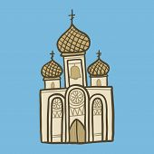 Christian Church Icon. Hand Drawn Illustration Of Christian Church Icon For Web Design poster