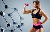 Athletic Woman Standing Near Glass Molecule Chain. Good Metabolism Concept. poster