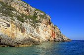Beautiful Seascapes On Zakynthos Island In Greece. Blue Caves In Northern Zakynthos Island With Deep poster