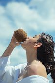 Coco Milk. Clean Eating Diet, Vegetarian And Vegan. Woman Is Moisturizing Her Skin With A Coconut Cr poster