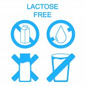 Lactose Free Labels. Food Set No Allergen Vector poster