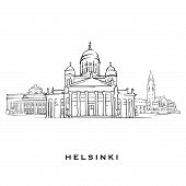 Helsinki Finland Famous Architecture. Outlined Vector Sketch Separated On White Background. Architec poster