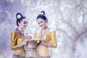 Beautiful Laos Women Wearing Laos Traditional Dress Costume,asian Girl Wearing Traditional Laos Cult poster