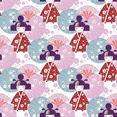 Seamless Pattern Japanese Girl, Kokeshi Doll With National Japanese Umbrellas And Cherry Blossom Flo poster