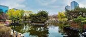 Panorama of Yeouido Park public park in Seoul, Korea poster