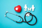 Flat Lay Composition With Red Heart And Stethoscope On Color Background. Cardiology Concept poster