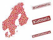 Geographic Combination Of Dot Mosaic Map Of Scandinavia And Red Rectangle Grunge Seal Watermarks. Ve poster