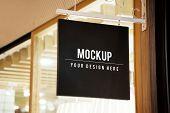 Mockup sign outside of a shop poster