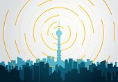 Vector Illustration Flat Style Tower With Radio Tv Signal Transmitter. City Skyline With Buildings O poster