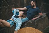 The Best Romantic Vacation For Couple. Sensual Couple On Vacation Trip. Sexy Woman And Bearded Man O poster