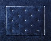 Close Up Background Of Dark Navy Blue Color Soft Velvet Bed Headboard With Rhinestone Crystals, Fron poster