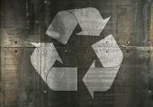 Background Texture Of Grunge Rusty Steel Metal Panels Wall With Rivets Or Bolts And Recycling Logo I poster
