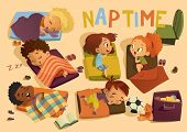 Nap Time In The Kindergarten. Group Of Multiracial Girls And Boys Have A Nip Time At A Colorfill Nap poster