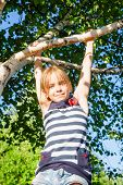 Portrait of happy girl hanging  from a birch tree in a summer park looking at camera enjoying summer poster