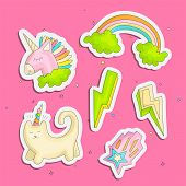 Cute Funny Girl Teenager Colored Stickers Set, Fashion Cute Teen And Princess Icons. Magic Fun Cute  poster