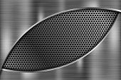 Metal 3d Background With Oval Perforated Metal Texture. Scratched Metallic Surface. Vector 3d Illust poster
