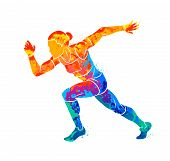 Abstract Of A Running Woman Short Distance Sprinter From Splash Of Watercolors. Vector Illustration  poster