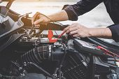 Services Car Engine Machine Concept, Automobile Mechanic Repairman Hands Checking A Car Engine Autom poster