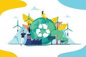 Environment Vector Illustration. Renewable Nature Resources Collection For Earth Sustainability. Peo poster