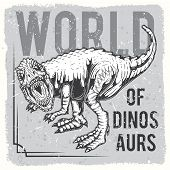 Angry Dinosaur On Grey Background In Vintage Style. Original Vector Illustration Of A Dinosaur. poster