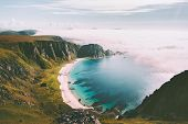 Sea Beach Landscape In Norway Idyllic Aerial View Summer Travel Vacations Nature Scenery Seaside And poster
