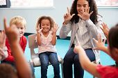 Front view of infant school children sitting on chairs in a circle in the classroom, holding up thei poster