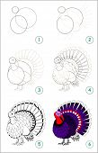 Educational Page For Kids Shows How To Learn Step By Step To Draw A Cute Turkey. Back To School. Dev poster