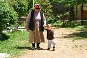 grandmother teaching walking