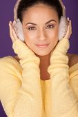 Beautiful Woman Wearing Ear Muffs