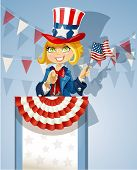 Cute blond girl in a suit of Uncle Sam stands on the podium with flag of USA