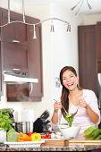 Kitchen Woman Making Salad Happy