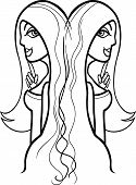 Woman Gemini Sign For Coloring