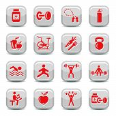 Bodybuilding And Fitness Icons Set