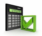 Rechner und ein grünes Häkchen markieren Symbol.