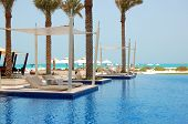 Swimming Pool Near Beach At The Luxury Hotel, Saadiyat Island, Abu Dhabi, Uae
