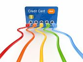 Colorful patchcords connected to credit card.