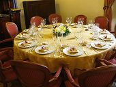 Banquet restaurant table.