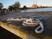Rope At Marina With Power Plant