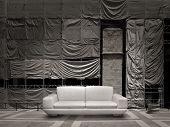 White Leather Sofa Canvas Background