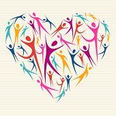 Abrazar la diversidad concepto corazón