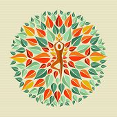stock photo of adornment  - Leaves circle human shape mandala design - JPG