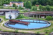 Wastewater Filtering In Water Treatment Plant, Summer
