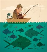 image of fisherman  - Fishing on the boat - JPG