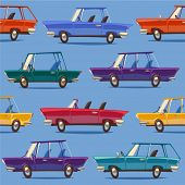 Cars. Seamless pattern. Vector retro styled illustration.