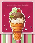 Design with Sweet ice cream greeting card, detailed vector illustration. Abstract Elegance food background