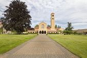 pic of benediction  - Brick Pathway to Mount Angel Abbey Roman Catholic Church Entrance in St Benedict Oregon - JPG