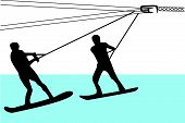 Water Skiing Silhouette Vector