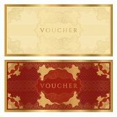Voucher (Gift certificate, coupon) template (banknote, money, currency, cheque, check)