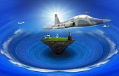 picture of float-plane  - young man standing on floating island with air plane flying above use for multipurpose - JPG