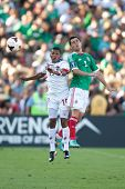 PASADENA, CA - JULY 7: Israel Jimenez #2 of Mexico and Alberto Quintero #19 of Panama during the 201